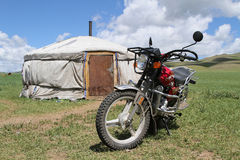 Yurt and the motorbike Royalty Free Stock Images