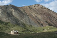 Yurt in MOuntains. Small Yurt in Tien Shan mountains Royalty Free Stock Images