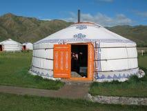 Yurt nel campo turistico Fotografie Stock Libere da Diritti