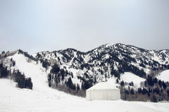 Yurt in the northern utah mountains in the winter Stock Photo