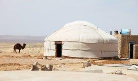 Yurt perto da fortaleza de Ayaz-Kala Fotos de Stock
