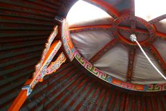 YURT ROOF INTERIOR. The details in Yurf Roof are colourful and delicate. It was from Outer Mongolia Royalty Free Stock Photos