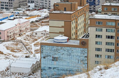 Yurt on the roof of residential building. Mongolia, Ulaanbaatanr Royalty Free Stock Images