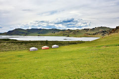 Yurt settlements, Terkhiin Tsagaan Lake, central mongolia Stock Photos