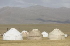 A yurt settling in the Tian Shan mountains near Song Kul lake. A yurt settling in the Tian Shan mountains at Song Kul lake in Kyrgyzstan Royalty Free Stock Images