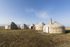 A yurt settling in the Tian Shan mountains at Song Kul lake. In Kyrgyzstan royalty free stock image
