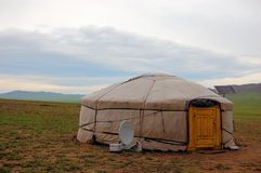 Yurt with solar and satellite in Mongolia Royalty Free Stock Photos
