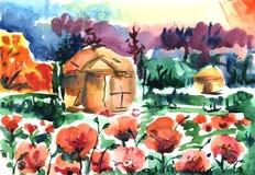 Yurt sul campo del papavero La casa dei nomadi sta in un campo in papaveri rossi contro un cielo blu illustrazione di stock
