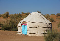Yurt in the tourist camp, side view Stock Photos
