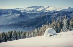 Yurt in winter fog mountains. Carpathian, Ukraine, Europe Royalty Free Stock Images