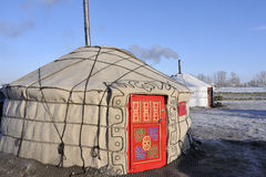 Yurts. Picture of a Gerr, traditional homes of nomads in Mongolia Stock Image