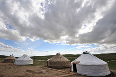 Yurts with clouds Stock Photo