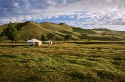 Yurts in de Mongoolse Steppe royalty-vrije stock fotografie