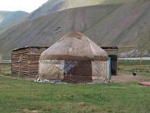 Yurts en el Shan de Thian en Kirguistán Imagen de archivo