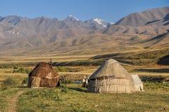 Yurts i Kirgizistan Arkivfoto