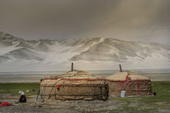 Yurts in Karakorum mountains Royalty Free Stock Photography