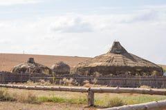 Yurts khans av huvudstaden för guld- hord av Sarai-Batu på bankerna av floden Ashuluk royaltyfri foto