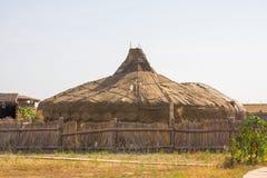 Yurts khans van de Gouden Horde hoofdstad van sarai-Batu op de banken van de rivier Ashuluk royalty-vrije stock afbeeldingen