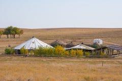 Yurts khans van de Gouden Horde hoofdstad van sarai-Batu op de banken van de rivier Ashuluk royalty-vrije stock foto