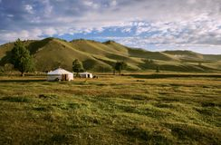 Yurts in the Mongolian Steppe royalty free stock photography