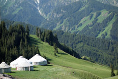 Yurts in the mountains Royalty Free Stock Photography