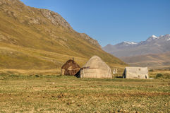Yurts nel Kirghizistan Fotografie Stock Libere da Diritti