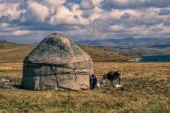 Yurts nel Kirghizistan Fotografie Stock