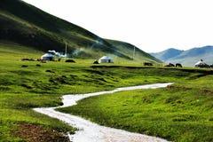 Yurts no prado de Mulan Foto de Stock Royalty Free