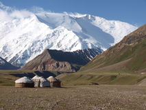 Yurts in Pamir. Yurts below the peak in the Pamir Stock Images