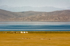 Yurts on Son-Kul Lake. Picture during my trip around the Kyrgyzstan Royalty Free Stock Photography