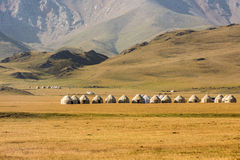 Yurts on Son-Kul Lake. Picture during my trip around the Kyrgyzstan Stock Photos