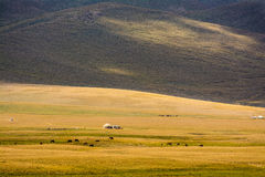 Yurts on Son-Kul Lake. Picture during my trip around the Kyrgyzstan Royalty Free Stock Image