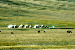 Yurts on Son-Kul Lake. Picture during my trip around the Kyrgyzstan Stock Images
