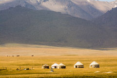 Yurts on Son-Kul Lake. Picture during my trip around the Kyrgyzstan Royalty Free Stock Images