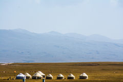 Yurts on Son-Kul Lake. Picture during my trip around the Kyrgyzstan Royalty Free Stock Photo