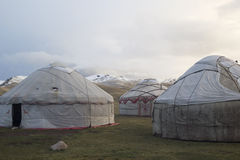Yurts - traditional nomadic houses in Central Asia. Kyrgyzstan, stock image
