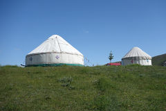Yurts under blue sky Royalty Free Stock Photos
