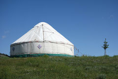 Yurts under blue sky Royalty Free Stock Image