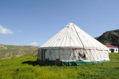 Yurts under blue sky Stock Photography