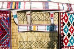 Yurts in Usbekistan, im traditionellen Handwerk und in den Mustern lizenzfreies stockfoto