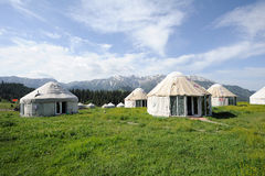 Yurts with white clouds Royalty Free Stock Photography