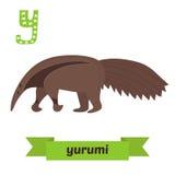 Yurumi. Y letter. Anteater. Cute children animal alphabet in vec. Tor. Funny cartoon animals. Vector illustration Stock Photo