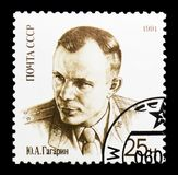 Yury Gagarin in uniform, 30th Anniversary of First Man in Space. MOSCOW, RUSSIA - MARCH 31, 2018: A stamp printed in USSR (Russia) shows  Yury Gagarin in uniform Royalty Free Stock Photography