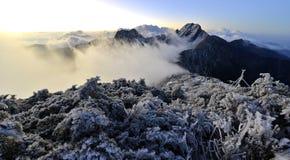 Yushan national park Mt. jady main peak and east peak. In winter time Royalty Free Stock Photos