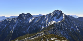 Yushan national park Mt. jady main peak and east peak. In winter time snow covered on the mountain Stock Photo
