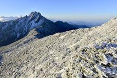 Yushan national park Mt. jady main peak. With snow in winter Stock Photos
