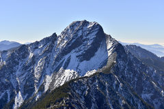 Yushan national park Mt. jady main peak. In winter time snow covered on the peak Stock Photo