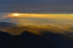 Yushan solnedgång Arkivbild