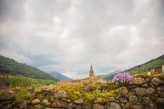 Yuso Monastery, San Millan de la Cogolla, La Rioja, Spain. Rural landscape of the Yuso monastery from the roads of San Millán de la Cogolla, La Rioja, Spain stock images