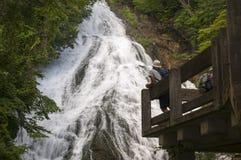 Yutaki瀑布的游人在日光国家公园,日本 免版税库存照片